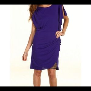 BCBG Maxazria Rose Dress Asymmetrical Persian Blue